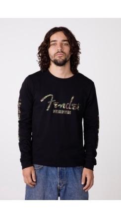 Camo Logo L/S T-Shirt, Blk - Black