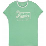 Fender® Beer Label Men's Ringer Tee - Sea Foam Green/White