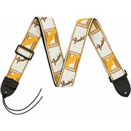 "Fender® 2"" Monogrammed Straps - White/Brown/Yellow"