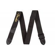 Fender® Black Polyester Logo Straps - Black with Yellow Logo