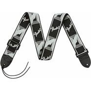 "Fender® 2"" Monogrammed Straps - Black/Light Grey/Dark Grey"