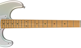 "ONE-PIECE MAPLE NECK WITH 9.5"" RADIUS FINGERBOARD"