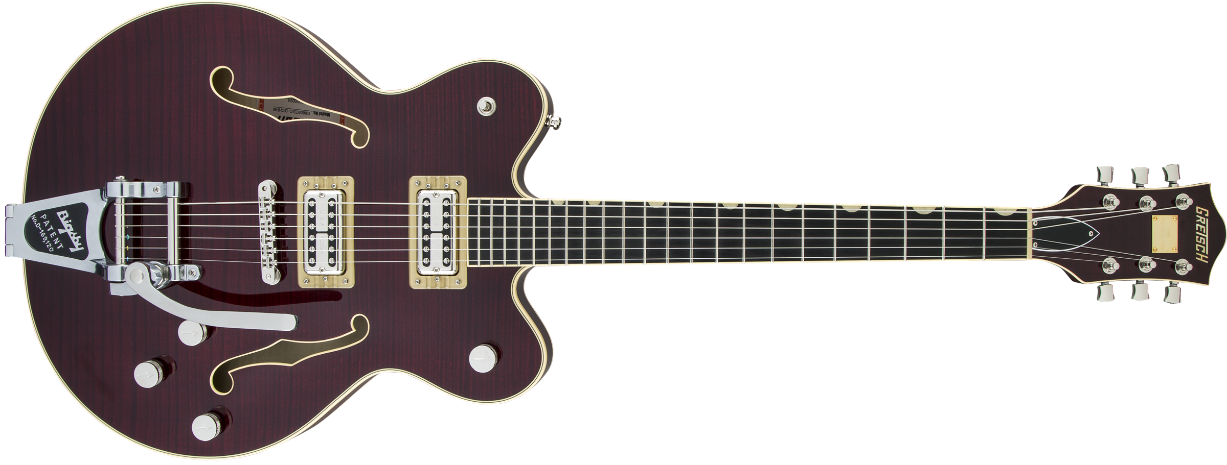 GRETSCH-G6609TFM-Players-Edition-Broadkaster-Center-Block-Double-Cut-with-String-Thru-Bigsby-USA-FullTron-Pickups-Tiger-Flame-Maple-Dark-Cherry-Stain-sku-571000158