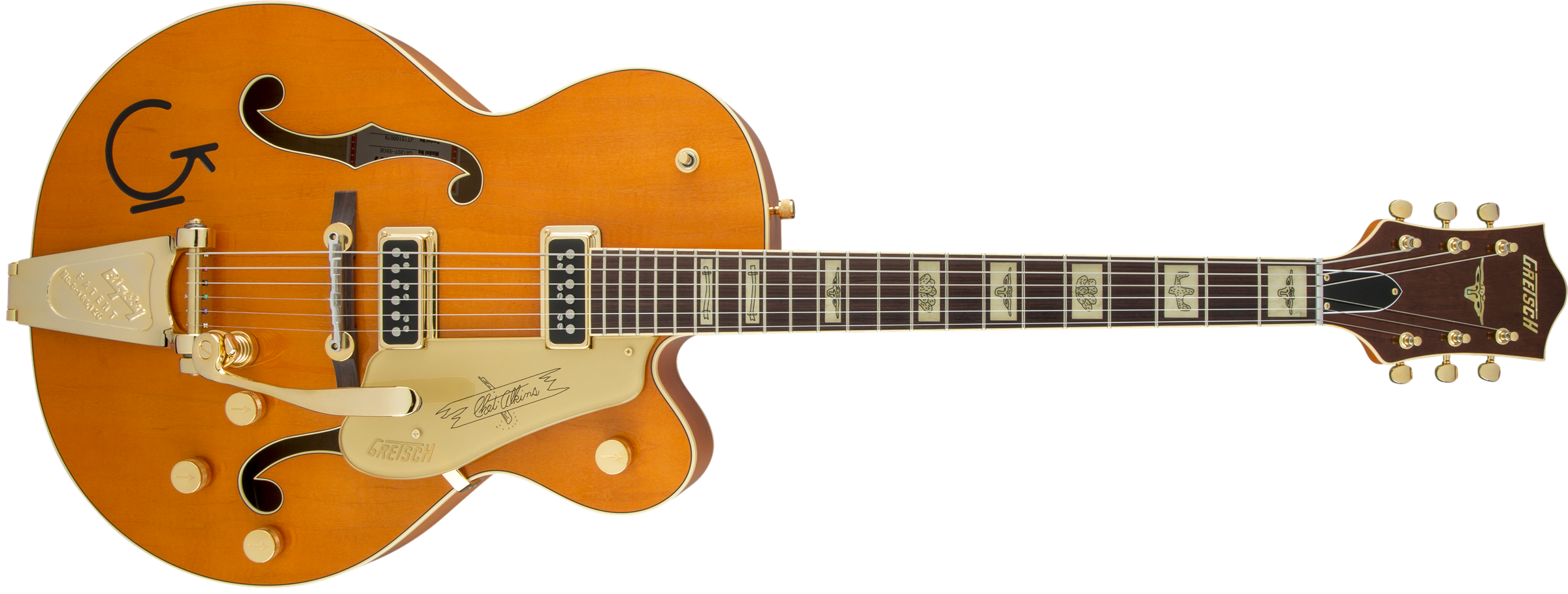 GRETSCH-G6120T-55-Vintage-Select-Edition-55-Chet-Atkins-Hollow-Body-with-Bigsby-TV-Jones-Vintage-Orange-Stain-Lacquer-sku-571000147