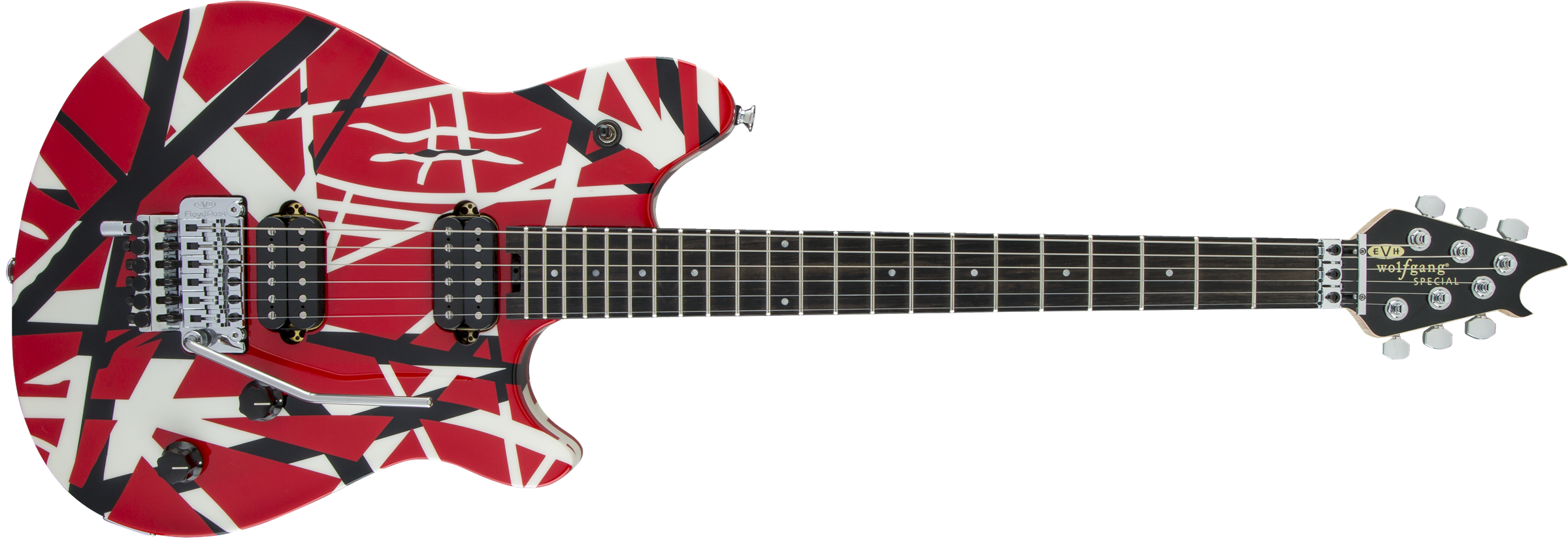 EVH® Wolfgang® Special, Ebony Fingerboard, Red with Black and White Stripes