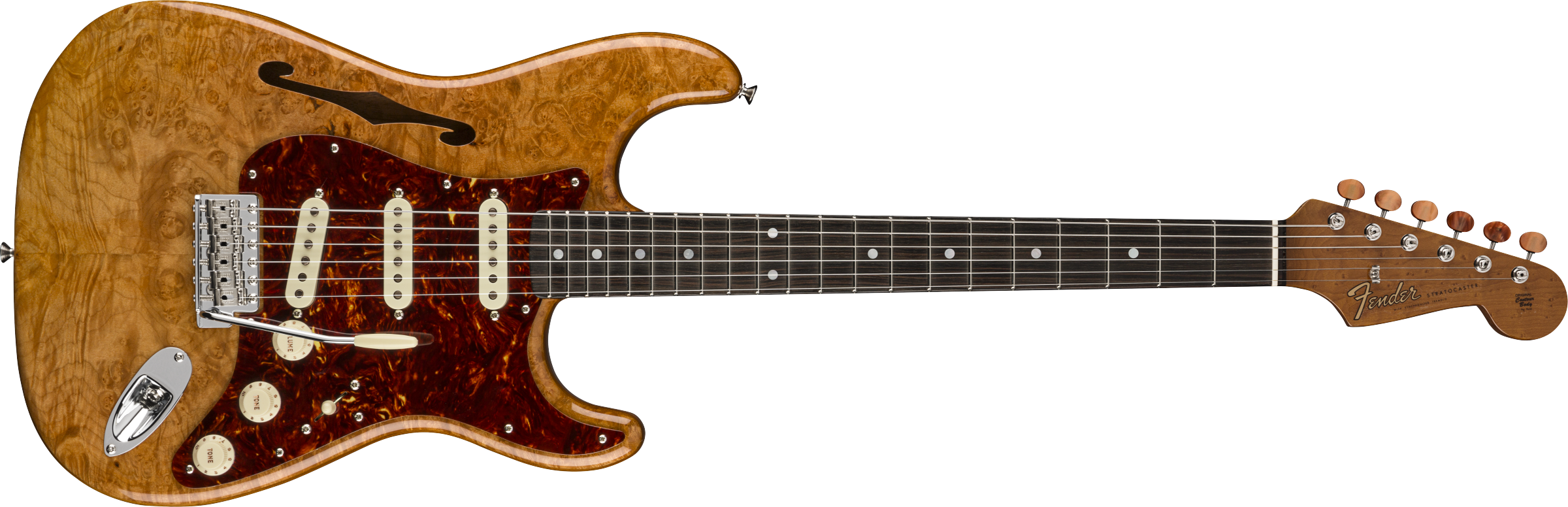 FENDER-Artisan-Maple-Burl-Stratocaster-Thinline-Roasted-Ash-Body-with-AAAA-Figured-Maple-Burl-Top-Ebony-Fingerboard-Aged-Natural-sku-571005171