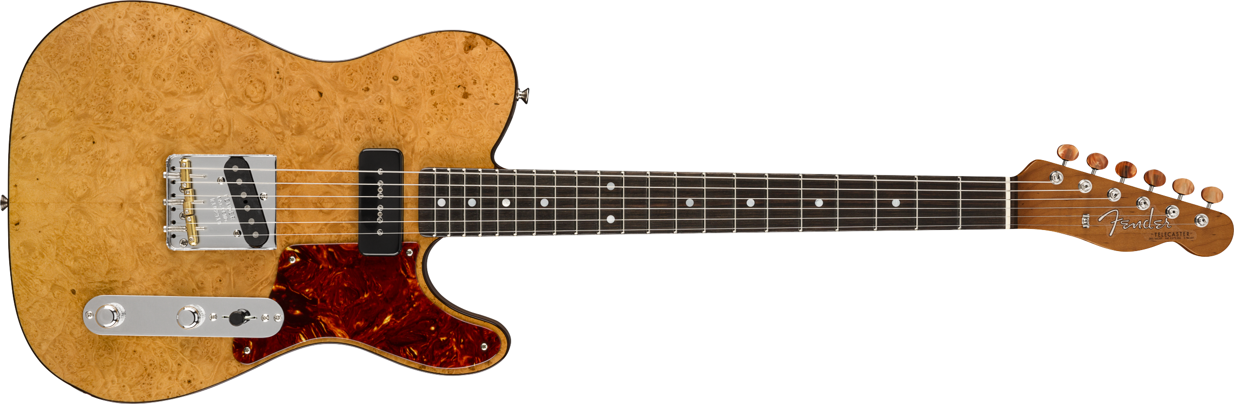 FENDER-Artisan-P90-Maple-Burl-Telecaster-Fiji-Mahogany-Body-with-AAAA-Figured-Maple-Burl-Top-Ebony-Fingerboard-Aged-Natural-sku-571005168
