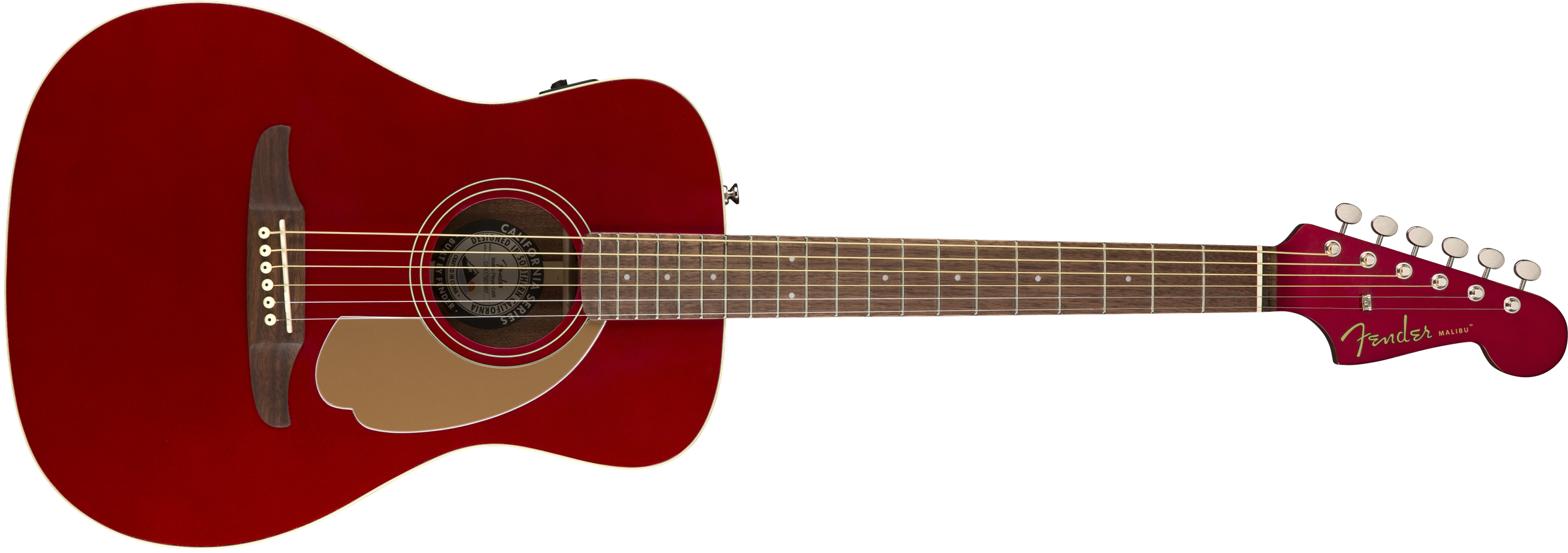 This is an image of the Fender Malibu Player, Walnut Fingerboard, Candy Apple Red