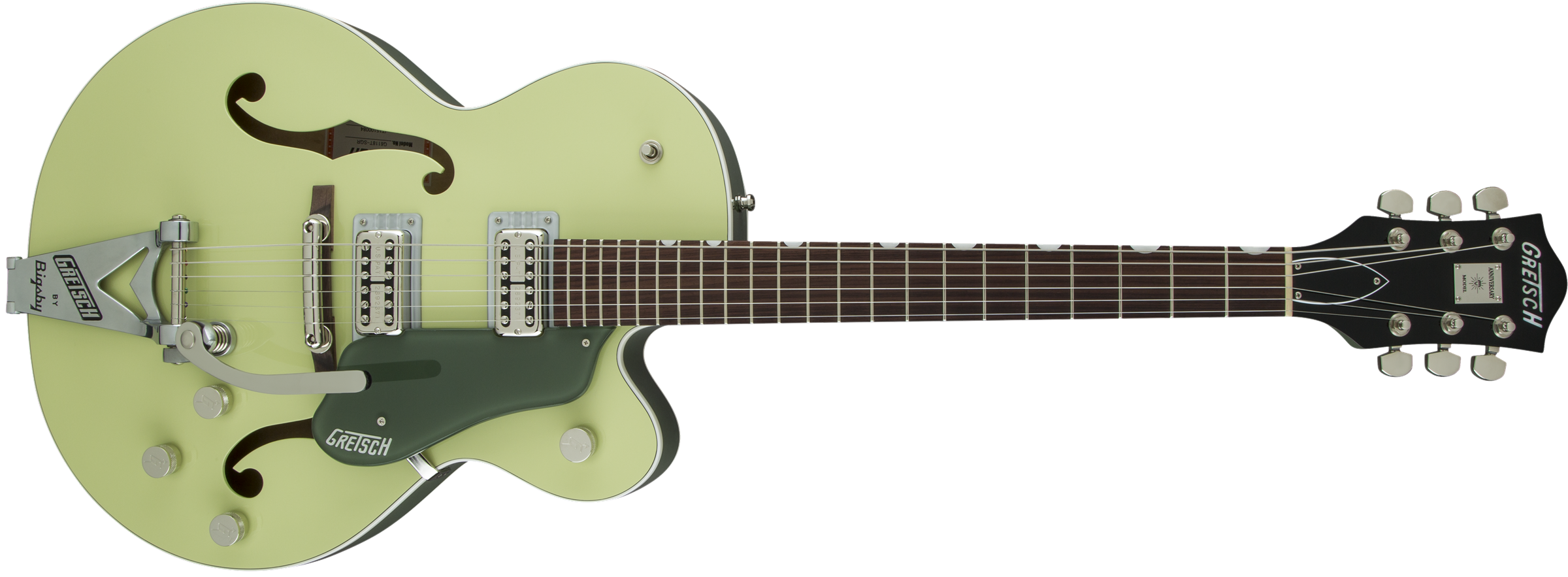 GRETSCH-G6118T-SGR-Players-Edition-Anniversary-with-String-Thru-Bigsby-FilterTron-Pickups-2-Tone-Smoke-Green-sku-571001217