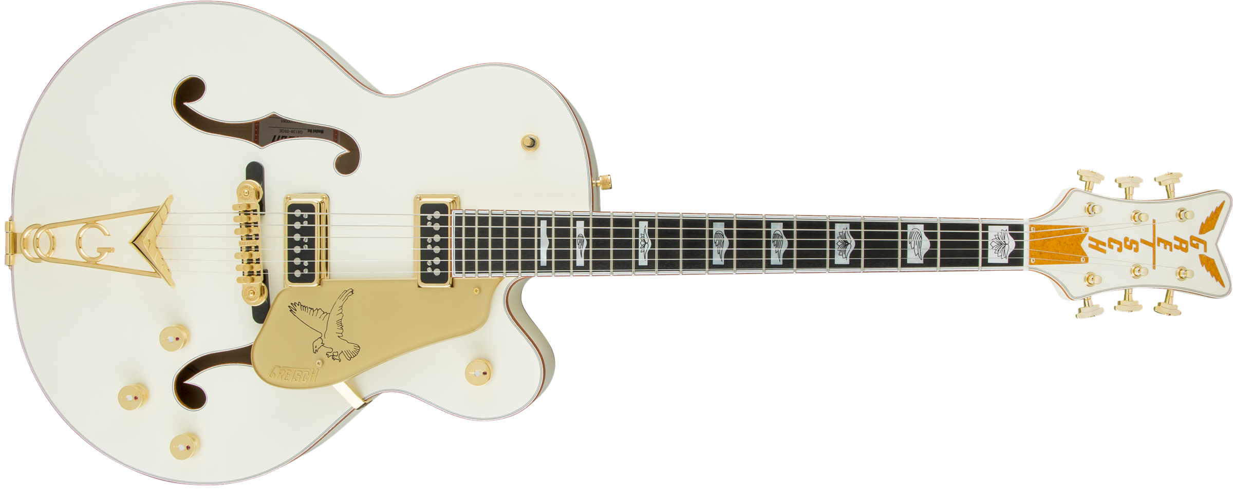 GRETSCH-G6136-55-Vintage-Select-Edition-55-Falcon-Hollow-Body-with-Cadillac-Tailpiece-TV-Jones-Solid-Spruce-Top-Vintage-White-Lacquer-sku-571000136