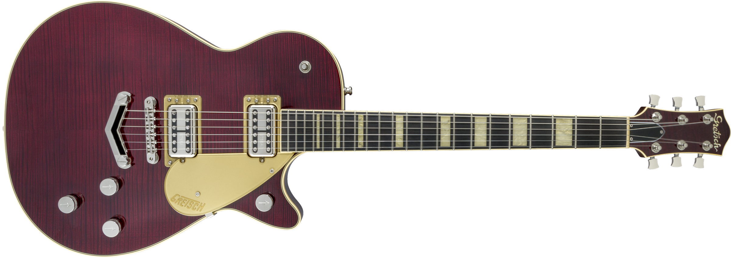 GRETSCH-G6228FM-Players-Edition-Jet-BT-with-V-Stoptail-and-Flame-Maple-Ebony-Fingerboard-Dark-Cherry-Stain-sku-571001184