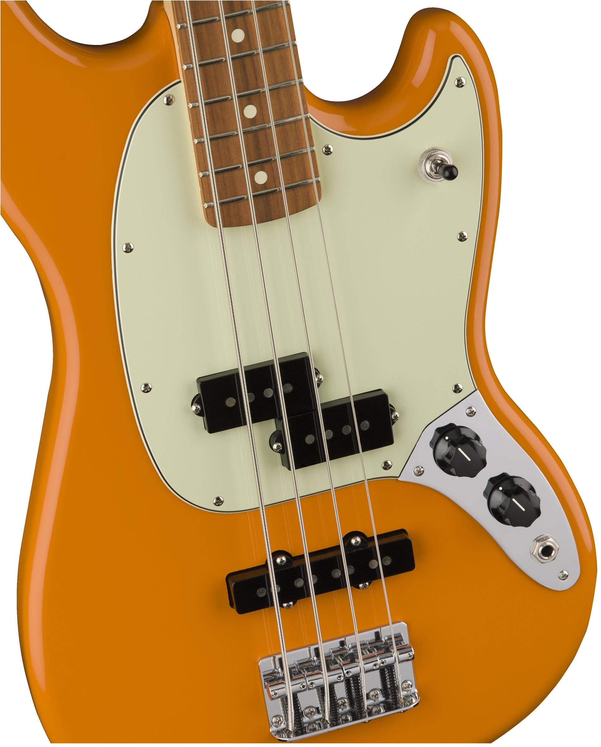 fender mustang bass pj, pau ferro fingerboard, capri orange