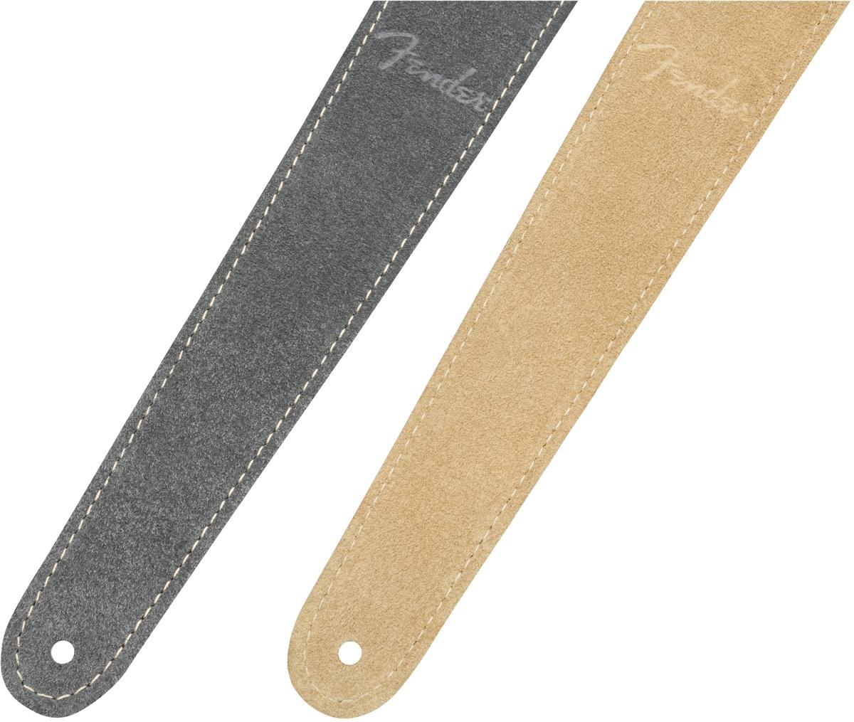 "Gray//Tan Reversible Genuine Fender 2/"" Wide Suede Guitar Strap"