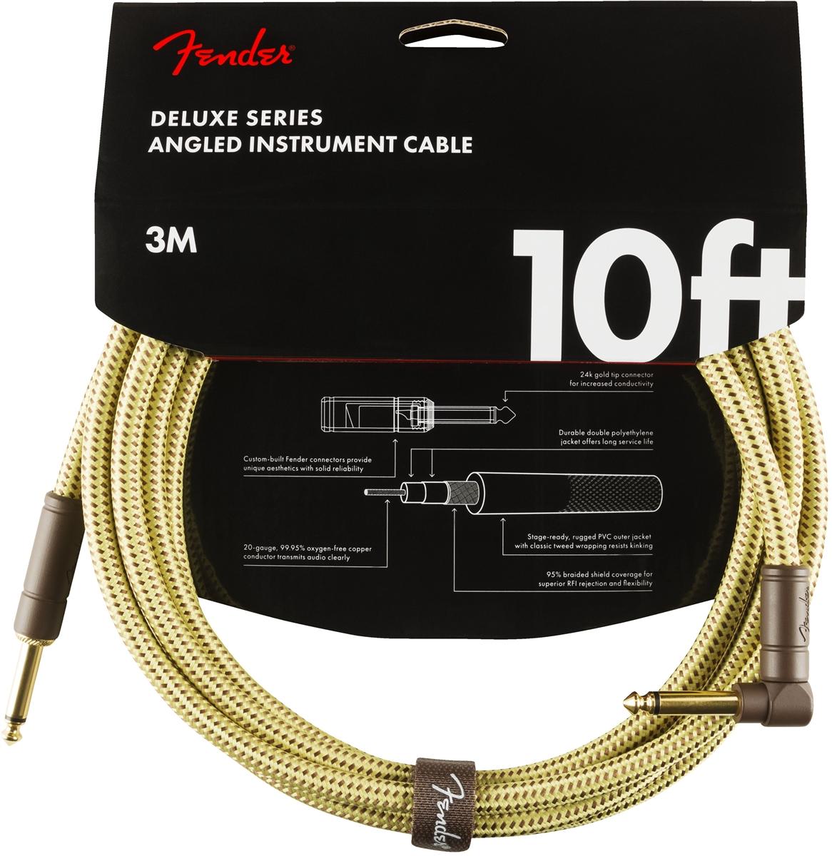 Fender Deluxe Series Instrument Cable 4,5 m 15/' Black Tweed