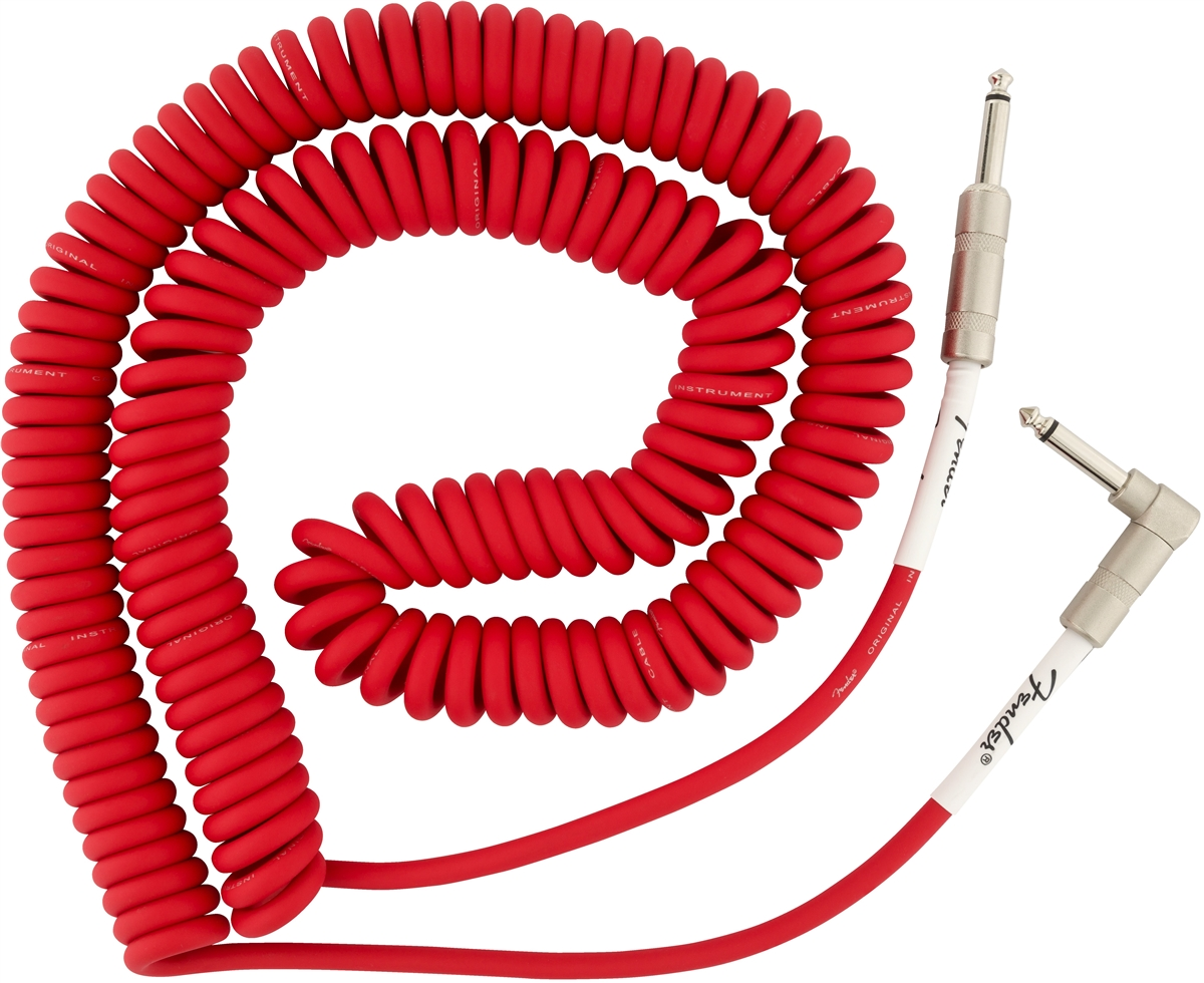 Fender Original Series 30 Foot Coil Instrument Guitar Coily Cable Fiesta Red